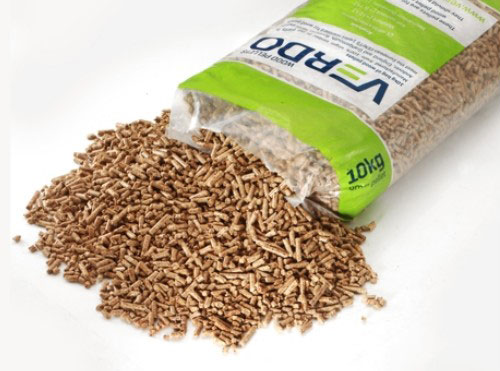 wood pellets in bag